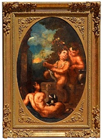infant satyrs playing by a plynth by pier francesco mola