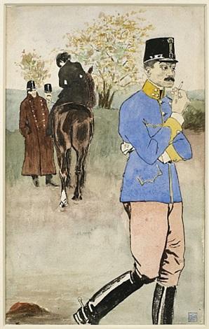 officier fumant, cavalière à l'arrière-plan by théophile alexandre steinlen