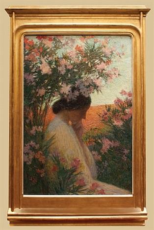 la pensée, femme en méditation dans un bosquet de laurier rose by henri jean guillaume martin