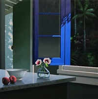 blue window, peaches and anemones by bruce cohen