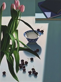 untitled, still life with tulips and cherries by bruce cohen