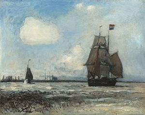 sortie de port en hollande by johan barthold jongkind