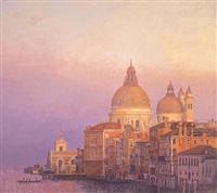 setting sun over santa maria della salute by nicholas verrall