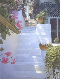 sunlight on white steps by nicholas verrall