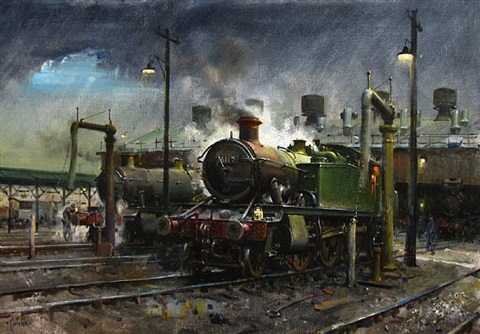 storm over southall shed 1978 by terence cuneo