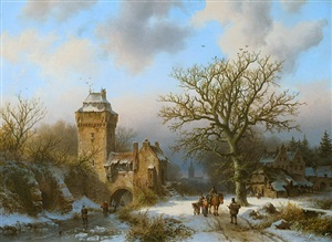 "a winter landscape with figures conversing on a snowy path and skaters on a frozen canal at the entrance of a fortified tower"" by barend cornelis koekkoek"