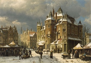 the nieuwmarkt in amsterdam in winter by willem koekkoek