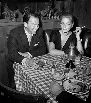 frank sinatra and lauren bacall at musso & frank grill by frank worth