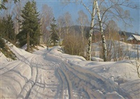 a sunlit winter landscape by peder mork mönsted