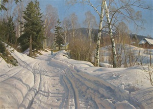 a sunlit winter landscape by peder mork monsted