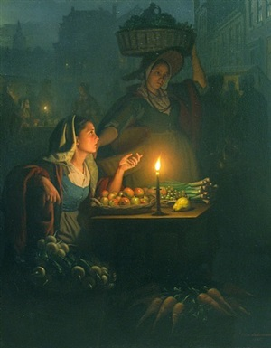 a busy night market with a vegetable stall by petrus van schendel