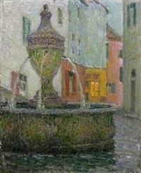 la fontaine, saint-paul de vence by henri le sidaner