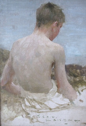 "back of a boy bather"" by henry scott tuke"