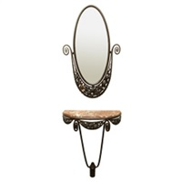 wrought iron and marble console table and mirror by edgar-william brandt