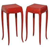 pair of lacquered end tables by jean dunand