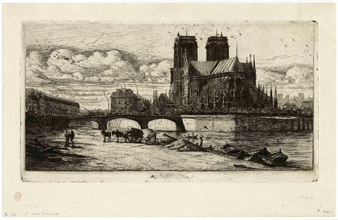 l'abside de notre-dame – the apse of notre-dame, paris by charles meryon