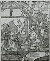 the nativity of christ - the adoration of the shepherds (the small passion) by albrecht dürer