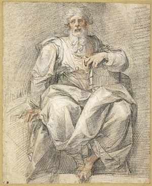 a seated prophet holding a book (a study for the figure of moses) by cavaliere d'arpino
