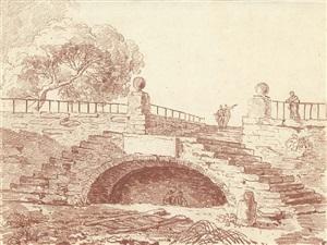 escalier dans le parc d'une villa romaine by hubert robert