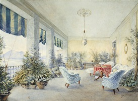 the loggia of the villa lieven in castellammare, the former residence of the russian ambassador in naples by gabriel carelli