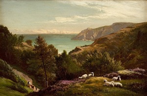 sheep grazing on a hilltop by sidney richard percy