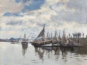 fishing boats, dieppe by edward seago