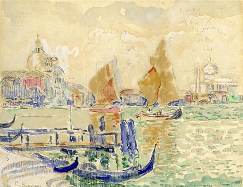 gondolas and sailing boats, giudecca, venice by paul signac