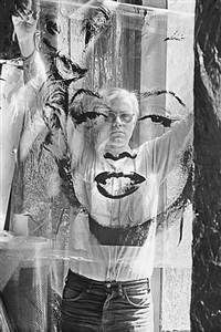 warhol holding marilyn acetate i, the factory, new york city by william john kennedy