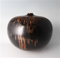 large vase, honan tenmoku glaze by brother thomas
