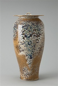 vase with cover, textured iron glaze by brother thomas