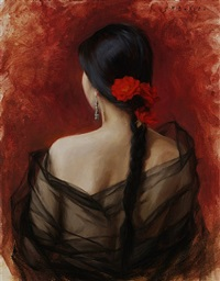 red roses and black tulle (sold) by grace mehan de vito