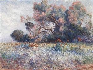 tamaris et champs de coquelicots by ferdinand puigaudeau