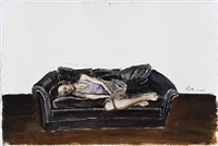 a girl on the black sofa by zeng hao