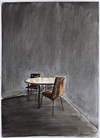 the table and chairs in the corner by zeng hao