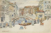 venice, the little bridge by maurice brazil prendergast