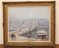 pont de saint-cloud sur la neige by georges manzana-pissarro