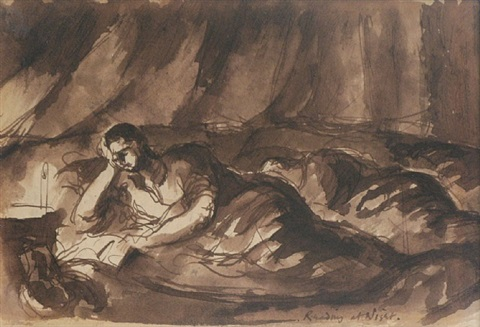 reading at night by keith vaughan