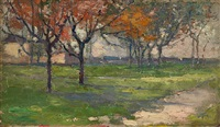 orchard (landscape with autumnal trees) by robert william vonnoh