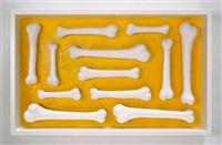 Untitled (12 bone ossuary, yellow), 2013