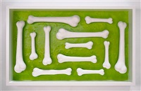 Untitled (12 bone ossuary, green), 2013
