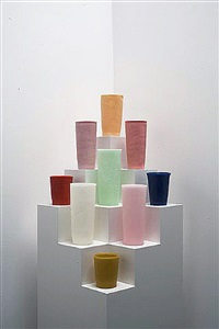 Untitled (9 tumblers on a stepped corner..., 2011