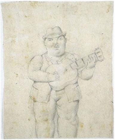 guitar player by fernando botero