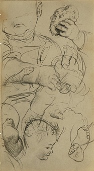 untitled (sheet of studies of a baby) by adolph von menzel