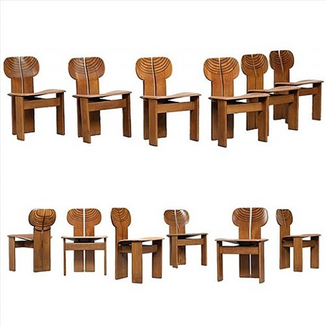 "set of twelve walnut ""artona"" dining chairs by afra and tobia scarpa"