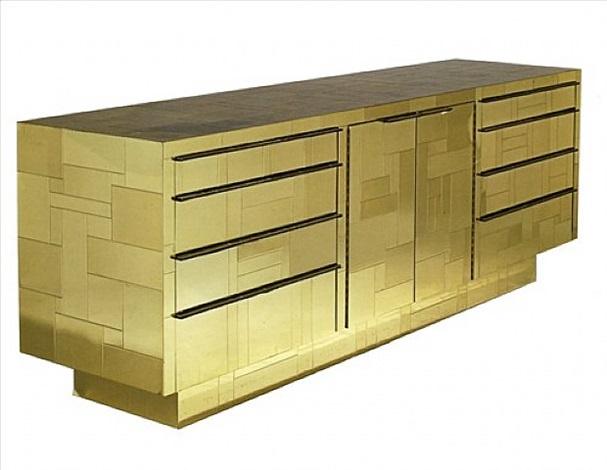 a gold cityscape console by paul evans by paul evans
