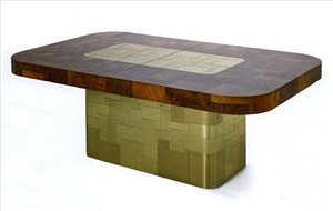 gold and burl walnut cityscape dining table by paul evans