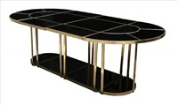 bronze and smoke mirror dining table by gabriella crespi