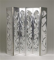 pair of phillip lloyd powell silvered-walnut, mirrored screens, new hope, pa by phillip lloyd powell