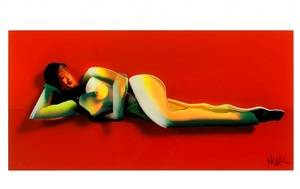 red reclining nude (dimensional edition) by adam neate