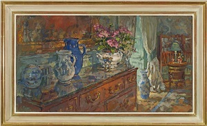 sideboard with blue jug by susan ryder